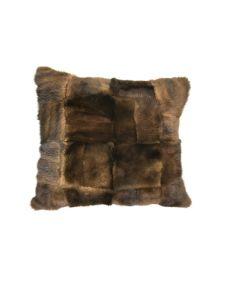 Minkpude brun med læder 50x50 cm